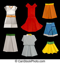 Set of Dresses and Skirts made ??of paper. Isolated origami