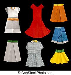 Conjunto, vestidos, faldas, hecho, ??of, papel