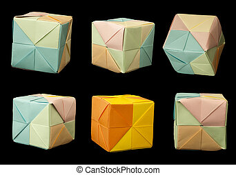 Paper cubes folded origami style - Paper made multi colored...