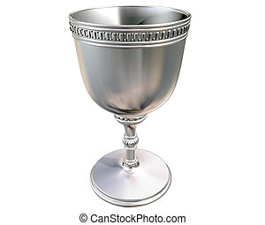 Silver goblet - Illustration of a highly polished antique...