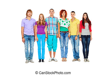 standing in line - Large group of young people standing...
