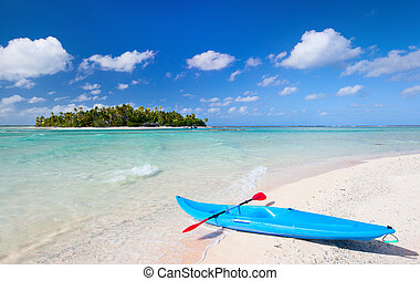 Kayak on a beach - Kayak on an exotic pink sand beach...