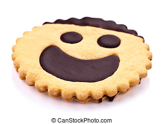 chocolate cookie with a smiling face