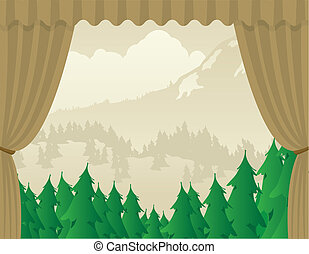 Wilderness Scene Stage - Vector illustration of a wilderness...