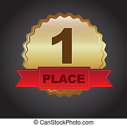 first place ribbon over black background. vector...