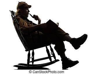 sherlock holmes reading silhouette sitting in rocking chair...