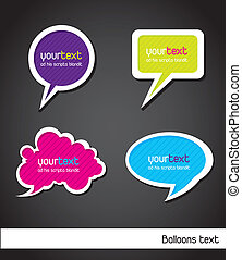 balloons text - colorful balloons text over black background...
