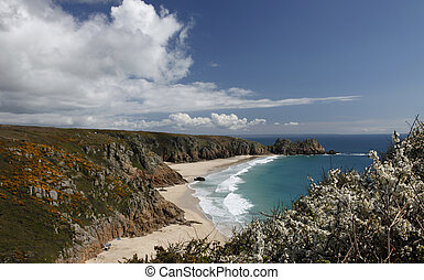 Porthcurno bay - On top of the cliff looking down at...
