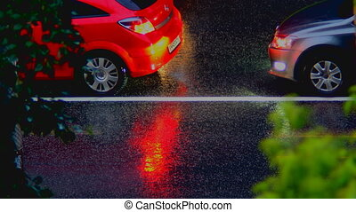 cars go in the rain time lapse