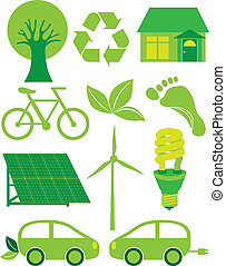 Go Green Eco Symbols Ilustration - Go Green Eco Symbols with...
