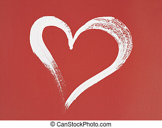 White heart painted on red background Brush stroke texture