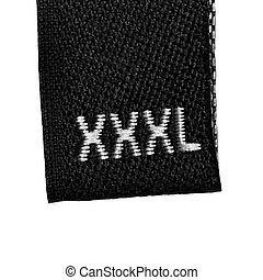 XXXL size clothing label tag, black fabric, isolated on...