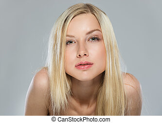 Portrait of blond hair cheeky teenage girl