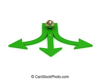 Gold ball at the crossroads of three green arrows on a white...