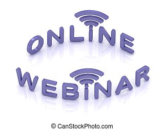 Online Webinar sign with lilac letters on white background
