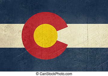 Grunge Colorado state flag of America, isolated on white...