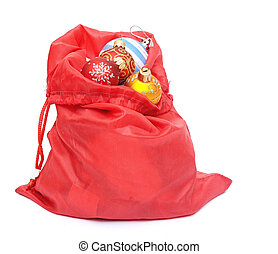 Santa Claus red bag with Christmas toys on white background....