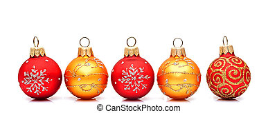 Christmas red baubles isolated on white background