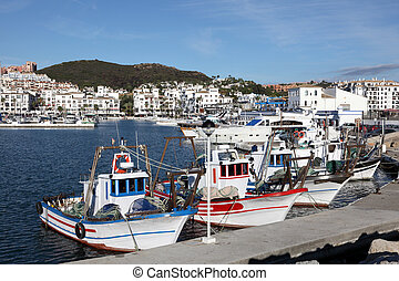 Fishing boats in La Duquesa, Costa del Sol, Andalusia Spain
