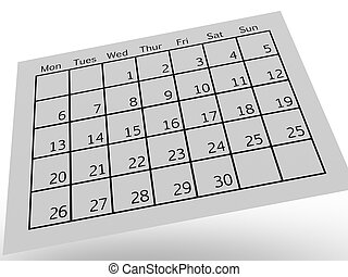 Calendar - A close up shot od a contempory calendar