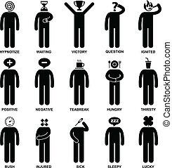 gens, homme, émotion, sentiment, action