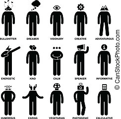 People Man Characteristic Attitude - A set of pictogram...