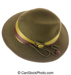 Green vintage hat isolated on white background