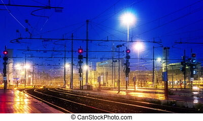 Rome Termini Train Station timelapse with zoom, railroad...