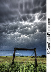 Storm Clouds Saskatchewan - mammatus Bubble Storm Clouds...