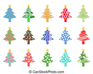 simple color xmas tree icon