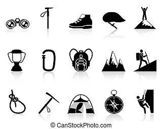climbing mountain icons set - isolated climbing mountain...