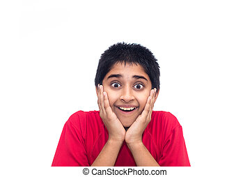 Excited - An handsome indian kid looking very excited