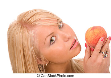 woman with peach