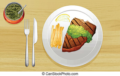 a food - illustration of a food on color background