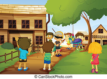 kids - illustration of kids playing games in nature