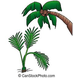 Palms 6 - two colored cartoon illustration