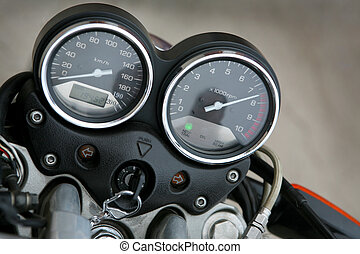 Speedmeter and tachometer on a modern motorcycle