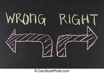 Chalk drawing - concept of right or wrong