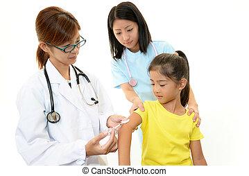 doctor, Inyectar, niño, vacuna