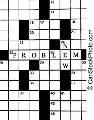 New Problem and Puzzling - Crossword puzzle fills background...
