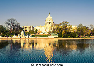 US Capitol at evening