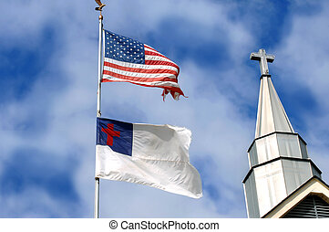 Battle weary - American flag and Christian flag fly besides...