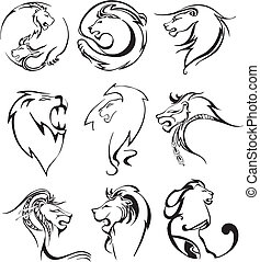 Stylized lion heads. Set of black and white vector...