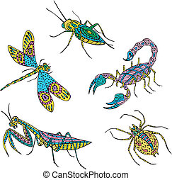 Stylized motley insects Set of color vector illustrations