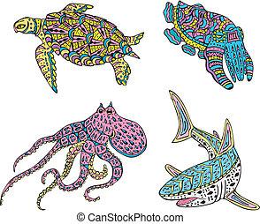 Stylized motley sea animals