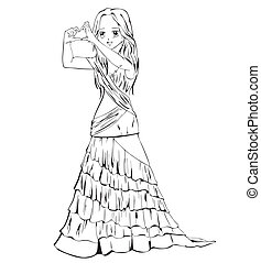 Elegant anime girl in evening dress. Black and white vector...
