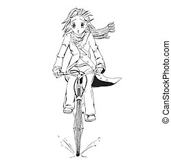 Anime girl bicyclist. Black and white vector illustration.