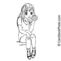 Anime girl eating cake. Black and white vector illustration.