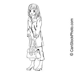 Anime girl with handbag Black and white vector illustration...