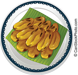banana chips - illustration of banana chips on a white...